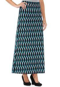 Patterned Ponte Maxi Skirt-Plus