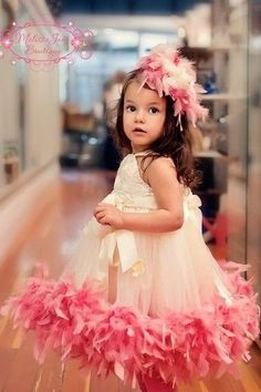 girl in pink and white frock