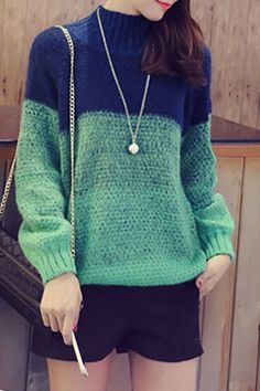 Chic Style Women's Round Collar Long Sleeve Color Block Sweater