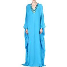 ISSA Embellished silk kaftan (Sea blue