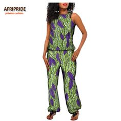 2017 autumn african suit for women ARIPRIDE private custom sleeveless regular top+ankle-length pant casual cotton suit A722625