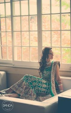 sea green mermaid lengha with silver embellishments & purple accents Indian Bridal Lehenga, Indian Bridal Wear, Pakistani Outfits, Indian Outfits, Desi Clothes, Indian Clothes, Ghaghra Choli, Indian Wedding Fashion, South Asian Bride