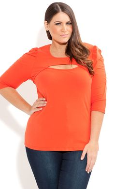 Fashion Tip: Try a peekaboo top to draw attention to your beautiful face. This one from City Chic is only $14 and can be worn with our Tanks A Little. http://slimpressions.com/shop/index.php/tops/tanks-a-little-torso-belly-underwear-slimmer.html