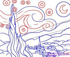 How to draw Van Gogh's Starry Night.