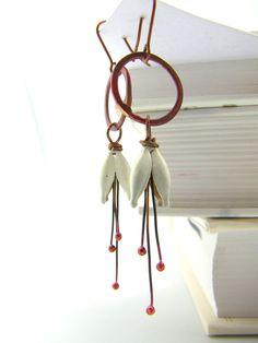 SALE - Flower Earrings - Enamel Jewelry - White Copper - Cherry Blossoms Hoops. $31.00, via Etsy.