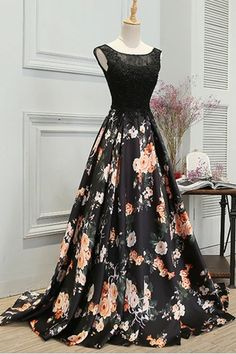 Stylish A Line Long Floral Printed Prom Dress,Formal Evening Dress – Okdresses