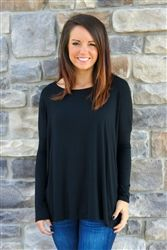 The Everyday Piko Long Sleeve Top - Black | #ShopMissChic