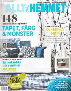 The cover of Swedish Allt i Hemmet nr 12 2012, featuring a Klippan sofa from IKEA with a Loose Fit Urban style cover from Bemz in Rosendla Pure Washed Absolute White Linen.