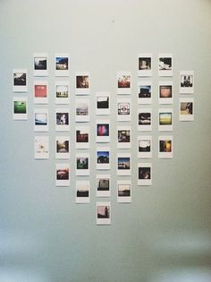DIY Projects to Turn Your Photos into Wall Art Polaroid heart wall art is so cute!Polaroid heart wall art is so cute! Polaroid Display, Polaroid Wall, Polaroid Pictures Display, Instax Wall, Polaroid Photos, Polaroid Decoration, Polaroids On Wall, Hanging Polaroids, Polaroid Camera
