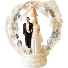 Vintage Chalkware Wedding Cake Topper Bride and Groom NICE!