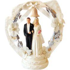 Vintage Chalkware Wedding Cake Topper Bride and Groom NICE!