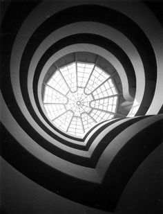 Guggenheim view up from indoors. Architect Frank Lloyd Wright.