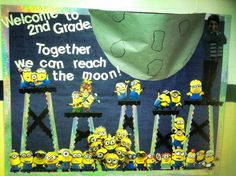 back to school bulletin board for my minion themed classroom! Minion Classroom Theme, Minion Theme, Space Classroom, 2nd Grade Classroom, Classroom Design, Classroom Themes, Classroom Organization, Movie Classroom, Classroom Projects