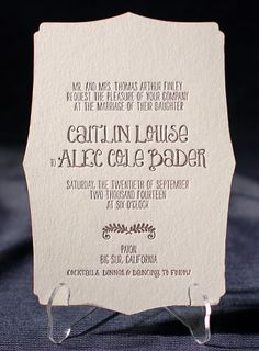 This is the die cut for our invitations (different color and fonts).  Love Smock Letterpress!