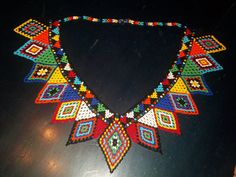 Custom Made Chaquira NgobeBugle  Indian  Hand Beaded Necklace with 2 matching cuff bracelets! by PanamaArt, $110.00