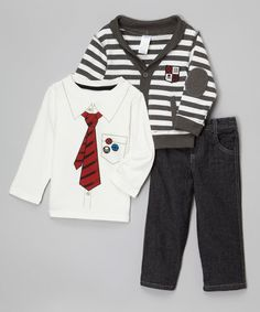 7252ec32be60 Look what I found on Gray Stripe Cardigan Set - Infant