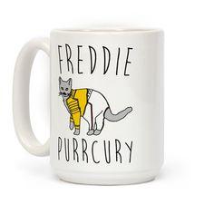 Freddie Purrcury Cat Parody Coffee Mugs Cute Mugs, Funny Mugs, Freedy Mercury, Coffee Cups, Tea Cups, Death Before Decaf, Coffee Mug Quotes, Yogurt Smoothies, Plate Design