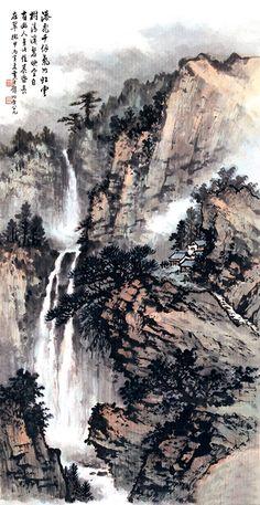 黄君璧-Huang Jun-Bi-World Porträt chinesischer Künstler – Porträts chinesischer Meister - Chinese Ideen Asian Landscape, Chinese Landscape Painting, Japanese Landscape, Chinese Painting, Watercolor Landscape, Chinese Art, Landscape Art, Landscape Paintings, Japan Painting