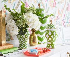With a vivid green hue and punched-up patterns,  Dana brings a modern twist to the centuries-old ginger jar.
