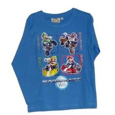 T-shirt Mario kart wii manches longues - bleu