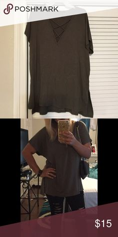 Criss cross vneck top Olive green flowy criss  cross vneck top .. used only once Forever 21 Tops