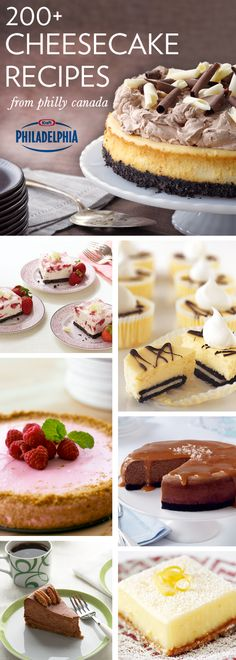200 Cheesecake Recipes from Philly Canada .this could be dangerous. No Bake Desserts, Just Desserts, Delicious Desserts, Sweet Recipes, Cake Recipes, Dessert Recipes, Cupcakes, Cupcake Cakes, Mein Café