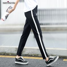 a5336548153c 2017 Autumn Women s pants Casual Drawstring Mid Waist Side Striped Black  Fashion Trousers Student Pants for Female sweatpants
