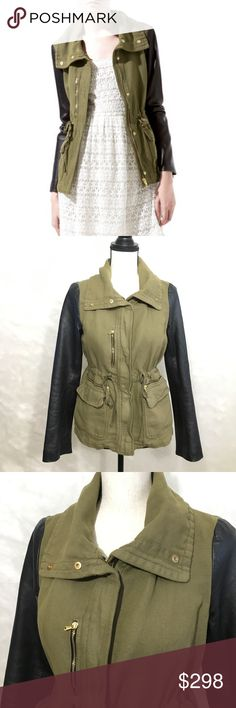 ZARA Safari Military Green Leather Sleeves Jacket Zara Safari Khaki Army Green Rivet Hooded Parka Coat Pocket Drawstring Long Sleeve Cotton Blend  Blogger favorite. Premium Zara Jacket Collection. Army green cotton safari khaki canvas-like body with black faux leather sleeves. Worn only a handful of times. Super popular jacket that was sold out!  Very nice pre-owned condition. Zara Jackets & Coats Utility Jackets