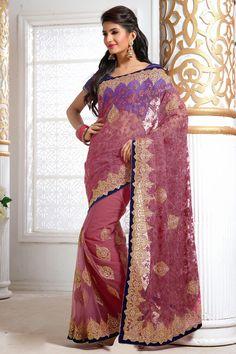 USD 154.84 Lovender Net Party Wear Saree 39387