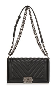 CHANEL Medium Chevron Boy Bag, Ruthenium Hardware