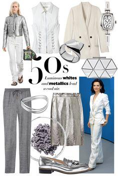 Stylist's Tip: Splashy silver adds polish to staple pieces.  Misha Nonoo top, $295, mishanonoo.com; Proenza Schouler cuff, $730, 212-420-7300; Brunello Cucinelli jacket, $3,645, 212-334-1010; Le Vian Time watch, $499, 877-LEVIAN; Fabiana Filippi sweatpants, nordstrom.com; Links of London cuff, $595, 212-588-1177; Ippolita necklace, $1,495,ippolita.com; Jane Iredale Pure Pressed Eye Shadow in Platinum, $19, janeiredale.com; DKNY skirt, $495, dkny.com; Jimmy Choo shoe, $725, jimmychoo.com…