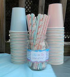 Cute decorations for Gender Reveal Party.