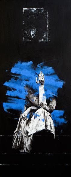 Giorgos Papakarmezis, AtlasIV, 2013,mixed media on canvas, 150x60 cm