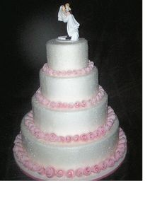 sugar sparkle with pink roses Wedding Cake by christiescakery, via Flickr
