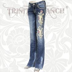 Montana West Trinity Ranch Jeans Stretch Denim Hip Hugger Embroidered