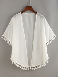 Online shopping for White Fringe Chiffon Top from a great selection of women's fashion clothing & more at MakeMeChic.COM.
