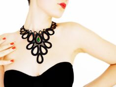 Garonia // Handmade Black Crochet Lace Collar Necklace by EPUU, $46.00 // Normally I'm not a fan of black, but I like the way this looks, less is more sometimes