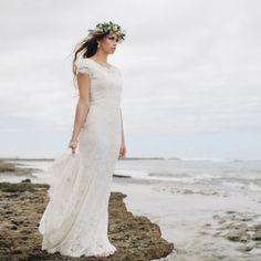 lace modest wedding dress cap sleeves from alta moda bridal (utah)