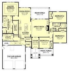 This is a great four bedroom country house plan with open concept living spaces, and a flexible bonus room over the garage. Browse our house plans today! Metal Building Homes Cost, Building A House, Acadian Homes, French Country House Plans, Cabin Kits, Traditional House Plans, Plan Design, Open Concept, House Floor Plans