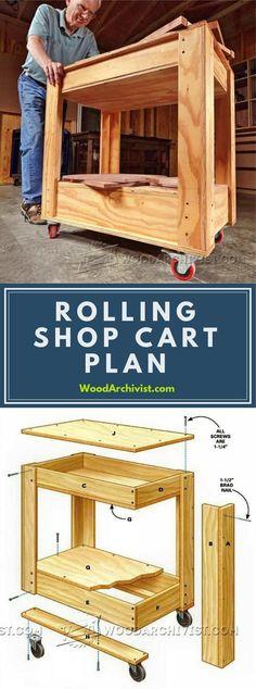 Rolling Shop Cart Plans - Workshop Solutions Projects, Tips and Tricks - Woodwork, Woodworking, Woodworking Tips, Woodworking Techniques Woodworking Projects That Sell, Woodworking Workshop, Woodworking Techniques, Popular Woodworking, Woodworking Wood, Garage Atelier, Creation Deco, Shop Plans, Planer