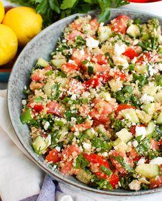 Cucumber Quinoa Salad, Quinoa Salad Recipes, Healthy Salad Recipes, Vegetarian Salad, Farro Recipes, Clean Recipes, Food Dishes, Side Dishes, Cucumber Recipes