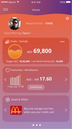Mobile Banking App Home Page - During day time