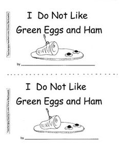 Green Eggs and Ham Response Reproducible Book Dr. Seuss