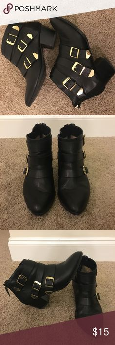 Black booties with gold buckles. Black Booties, with zipper back closure and side gold buckles. Forever 21 Shoes Ankle Boots & Booties