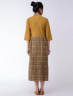 Mustard-Indigo Ajrakh-printed Cotton Dress One Piece Dress, Cotton Dresses, Printed Cotton, Mustard, Lace Skirt, Indigo, Skirts, Fashion, Moda