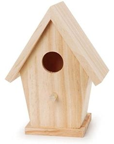 Darice 9184-74 Natural Wood Birdhouse, 5-3/4-Inch