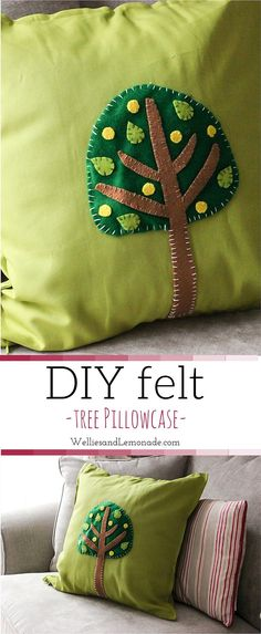 Gorgeous felt cushion case craft. A good way to bring more colour to your room, ideal for toddler woodland creature themed rooms. find it over at http://www.welliesandlemonade.com/diy-felt-cushion-case-tree-part3