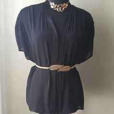 Versatile v-neck chiffon top Good condition. Dress this top up or down. Sheer material is great for layering. Generous cut can be worn flowy or you can accentuate you waist with a belt. Belt is also available for sale. Work it anyway you want, but don't miss out. Worthington Tops Blouses