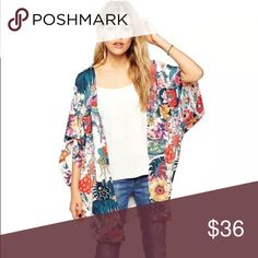 NEW Fun Floral Kimono Fall transition🍂🍂🍂 I love this Floral Kimono to dress up jeans and A tee.  One size fits most up to size 10-12. Print is shown in the 3 pics up close, it's very pretty and vibrant! spa la la brand Jackets & Coats Capes