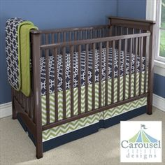 Nursery Designer by Carousel Designs - Design Your Own Baby Bedding - Navy blue and lime green modern geometric prints